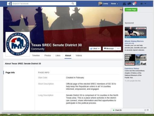 This is a copy of the official Texas Republican Party SREC Facebook page for Senate District 30.